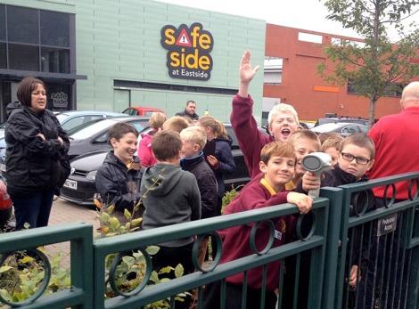Leamore Primary School pupils use radar guns at Safeside.
