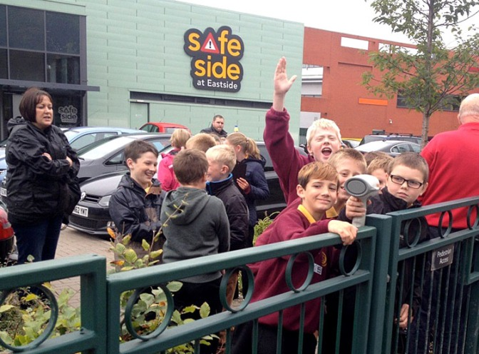 Leamore Primary School pupils use radar guns at Safeside.