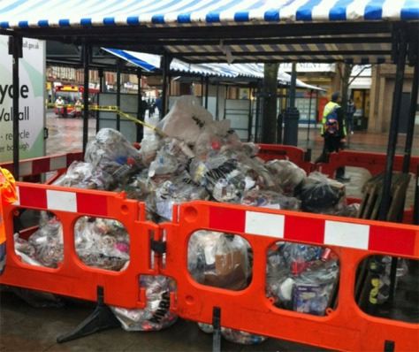 A day's rubbish from the streets of Walsall town centre.