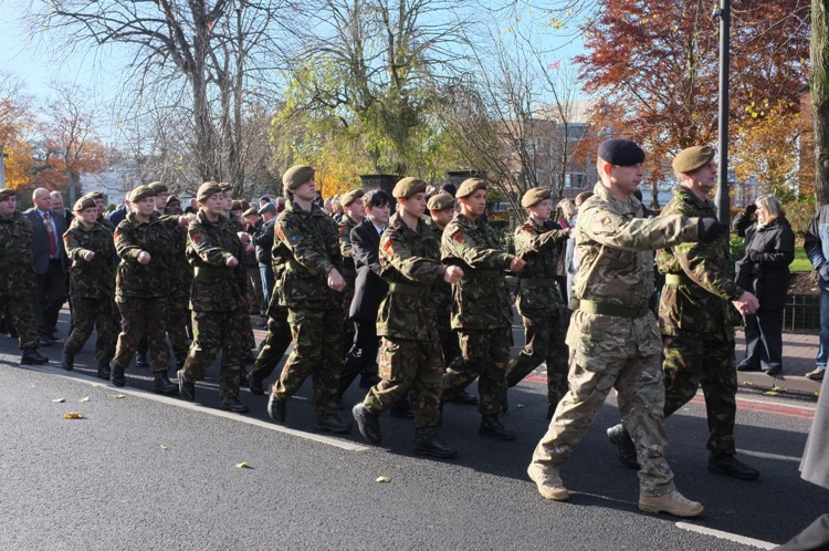 Army Cadets step out smartly on the return parade.