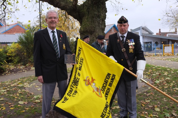 Blakenall Heath resident Graham Morris (left) and Andy Stokes of the Staffordshire Regiment Regimental Association prepare for the unveiling.