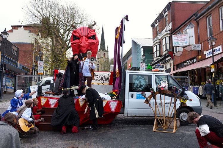 Devil may care - Beelzebub shows his ugly mush in Walsall High Street!