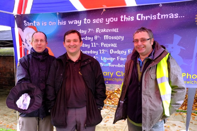 Buddy can you spare a dime? Neil Bennett, Steve Antill and Stuart Fisher promote the annual Bloxwich Rotary Santa tour.