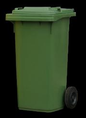 Green wheelie bin.