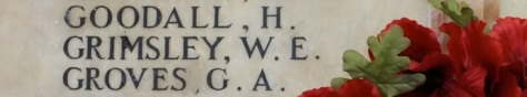 Lance Corporal Grimsley's inscription on the school memorial.