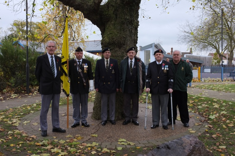 Local veterans Graham Morris, Andy Stokes, Terry Johnson, Tom Johnson, Pete Humpage and Andy Singer stand beneath the Peace Tree (l to r).