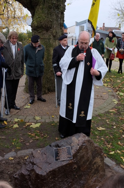 Revd Paul Myers of Christ Church, Blakenall Heath leads the dedication service.