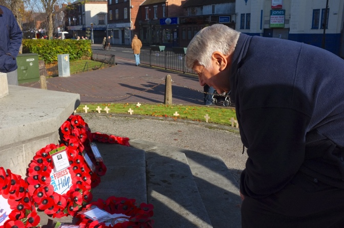 Roy Aldridge of SSAFA Forces Help Walsall District at Bloxwich War Memorial today, Remembrance Sunday.