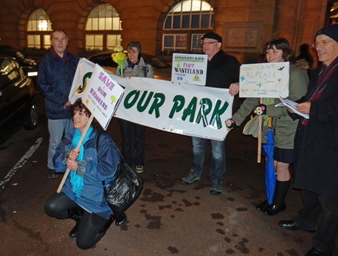 Save Walsall's Green Spaces protestors at Walsall Council House.