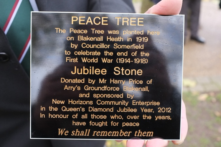 The Peace Tree plaque, which is now fixed to the Jubilee Stone.