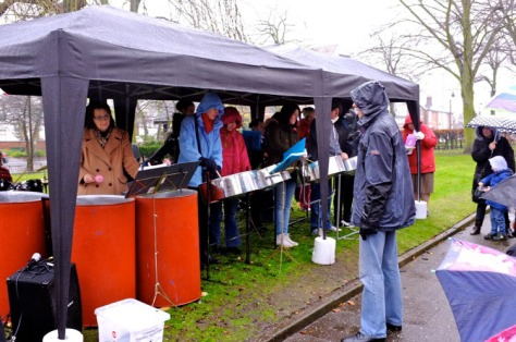 The Steel Pans Band strikes up a tune as The Bloxwich Telegraph arrives!