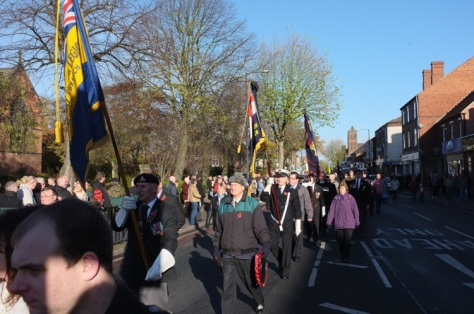 Veterans and their representatives arrive at Bloxwich War Memorial.