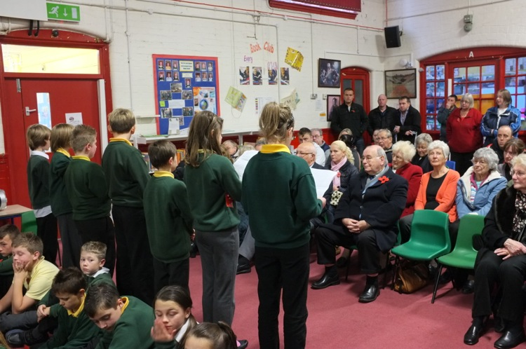 Youngsters read 'letters' composed by them in Great War style.