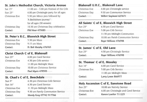 Bloxwich Churches Christmas Services