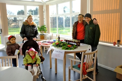Christmas wreaths and preserves stall