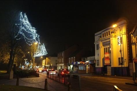 The new lights begin in trees opposite the former Grosvenor Cinema on High Street