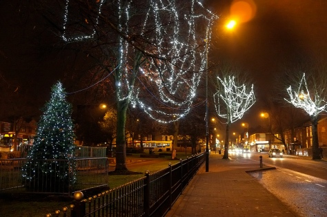 The view back along High Street from the Bloxwich Christmas tree in Promenade Gardens is spectacular