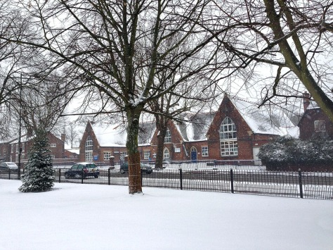 A seasonal view of Bloxwich CE Primary School (The National!) from Promenade Gardens