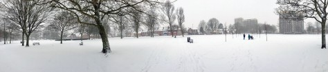 Bloxwich Park nestling under a blanket of snow - click to enlarge