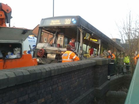 Diamond 301 bus being recovered from Sneyd Lane