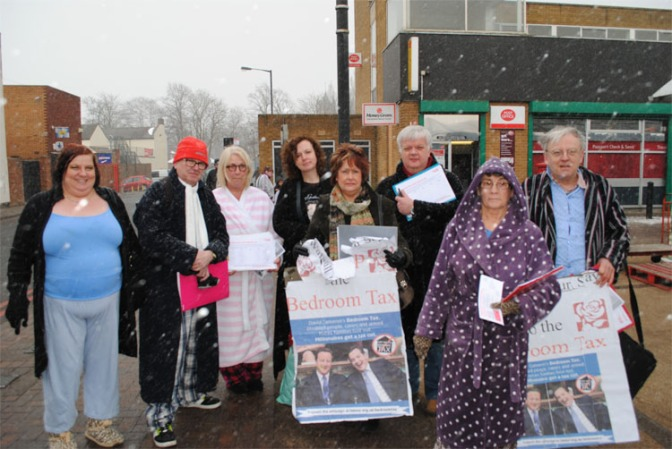 Bloxwich Labour campaigners protest the Bedroom Tax