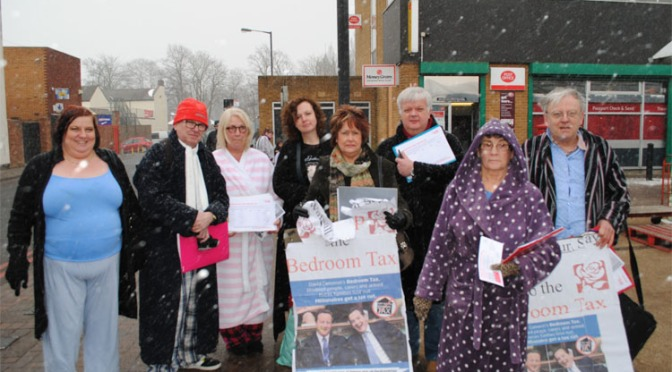 Labour Councillors brave the harsh weather to protest the bedroom tax