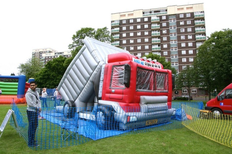 It's keep on trucking for the kiddies with this unusual inflatable!