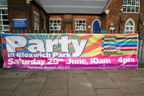 Party Banner outside the National School
