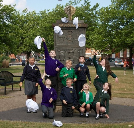The young Bloxwich Canival Ambassadors for 2013 have fun at The Bloxwich Tardis! Note the gold Wishing Tree on top.
