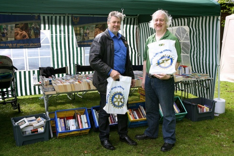 Troy and Steve from the Rotary Club of Bloxwich Phoenix on their book stall