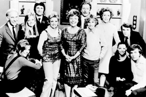 Early photo of the cast of Crossroads including Jane Rossington and Noele Gordon