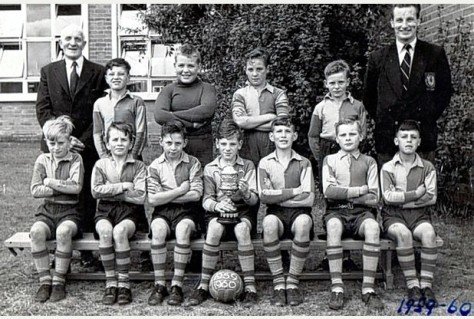 Edgar Stammers Junior School football team, circa 1959. Pictured back row is, from left to right, is headteacher Mr Powell, Steven Groom, Phil Bottomer, Keith Pepperworth, Brian Webster and class teacher Mr Prothero. Front is Phillip Hathaway, Peter Nolan, Paul Ayres, Chris Shaw, Robert Hollowood, Morrris (Maurice) Heinze and Terry Healey.