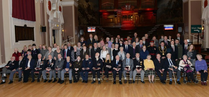 Veterans, dignitaries and guests at the presentation of the Ushakove Medal in Walsall Town Hall ((courtesy Ed Bagnall)
