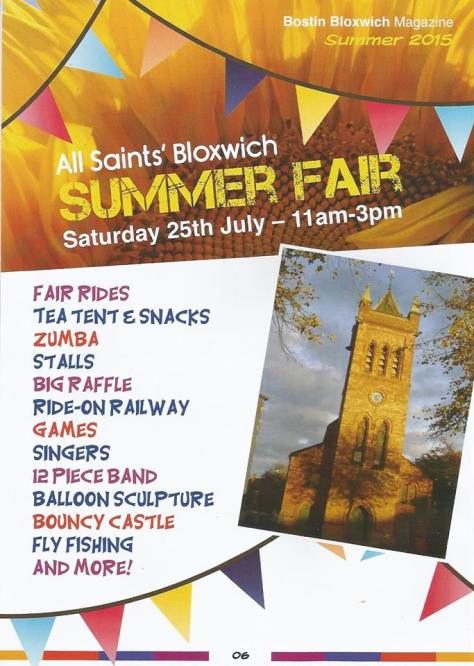 All Saints Bloxwich Summer Fair advert (click to enlarge)