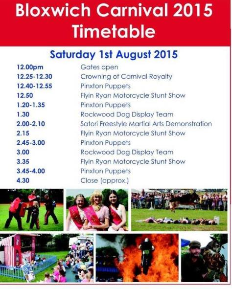 Bloxwich Carnival 2015 Timetable