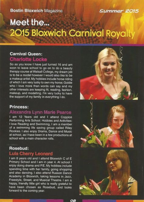 Bloxwich Carnival Royalty (from Bostin Bloxwich) - click to enlarge