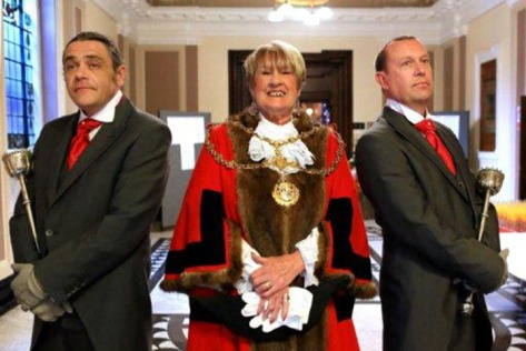 Mayor of Walsall, Cllr Angela Underhill, and the Mace Bearers (pic Walsall Council)