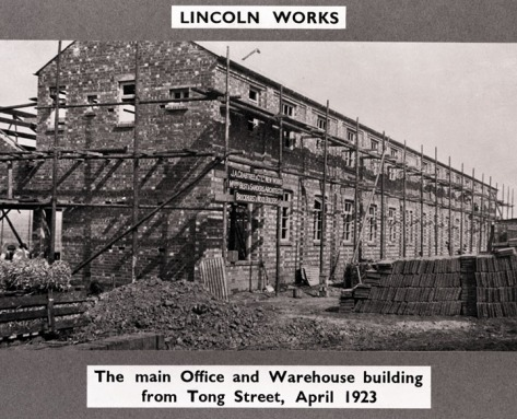 The Lincoln Works being built, April 1923