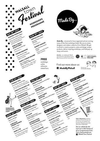 Walsall Town Festival Workshop Programme - click to enlarge
