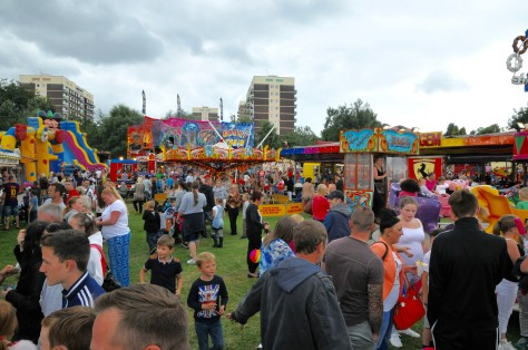 A bustling Pat Collins fun fair