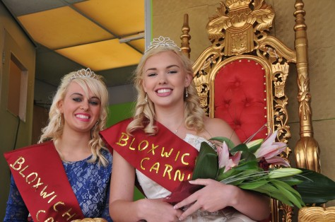 All smiles - 2014 Bloxwich Carnival Queen Lucy Shepherd hands over the reigns to her successor Charlotte Locke