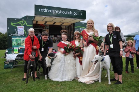 Dogs and volunteers of the Monmore Retired Greyhound Trust were delighted to meet the Carnival Queen and her companions
