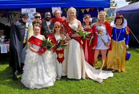 Queen, Princess and Rosebud meet up with heroes and superheroes from Bloxwich Community Partnership