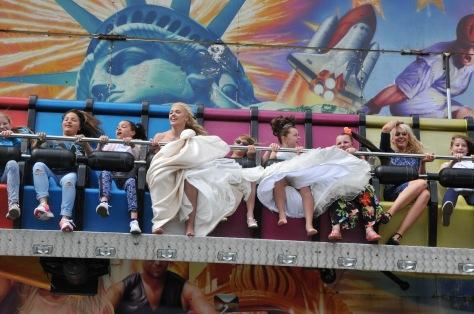 The 2015 Bloxwich Carnival scream queens go flying on Pat Collins' SCREAM ride!
