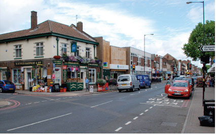 Bloxwich High Street, 2013 - the 'George' is now Bloxwich Hardware and the old banks have been replaced