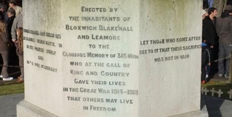 Bloxwich War Memorial inscription (pic Stuart Williams)