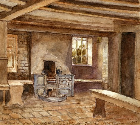 Kitchen of the old Bull's Head, 1927 (watercolour by Billy Meikle)