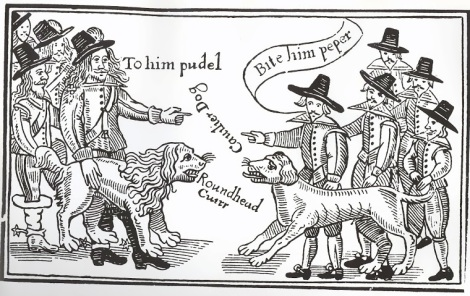 English Civil War cartoon - Cavaliers to the left, Roundheads to the right