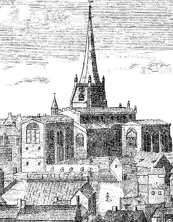 St Matthew's Church in an engraving of 1795