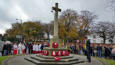 A veteran lays a wreath and contemplates in silence (pic Stuart Williams)